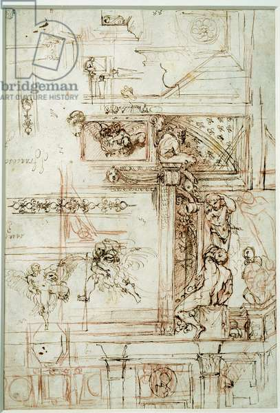 Project for the Farnese gallery. Drawing by Annibal Carracci Dit Carrache (1560-1609), 16th century. Blood. Dim: 0,28 X 0,26m. Paris, Musee Du Louvre