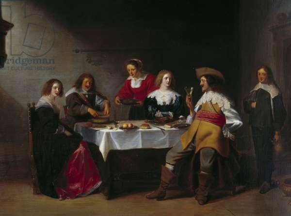 "Detail of """" Company meal"""" Painting by Christophe Van Der Lamen (1606-1651) (ec.flam) 17th century Rouen, Musee des Beaux Arts."
