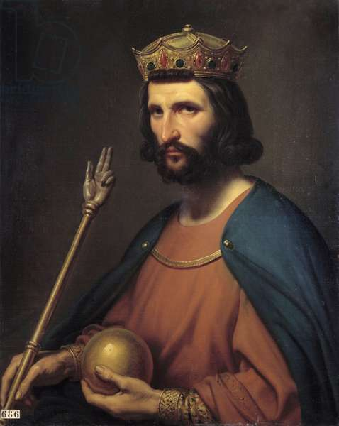 Portrait of Hugues Capet (941-996) king of France in 987 He holds in hand a globe and a sceptre, symbols of power. Painting by Charles de Steuben (1788-1856) 19th century Sun. 0,91x0,74 m.  - Portrait of Hugues Capet (941-996), King of France in 987. He holds in his hand a globe and a scepter, symbols of the power. Painting by Charles de Steuben (1788-1856), 19th century. 0.91 x 0.74 m.