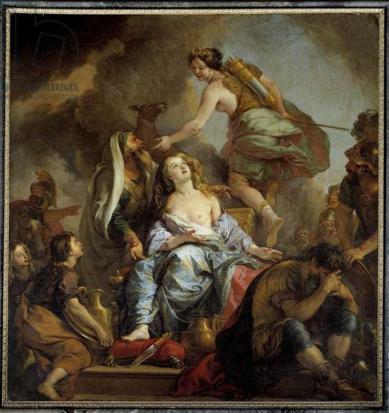 The sacrifice of Iphigenie King Agamemnon sacrifices his daughter to appease Artemis's anger. Painting by Charles de Lafosse (1636-1716) 17th century Sun. 2,24x2,12 m