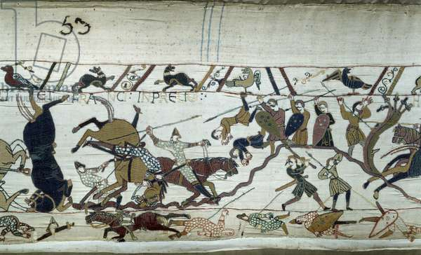 Conquete of England by the Duke of Normandy William the Conquerant (1027-1087) in 1066: The Battle of Hastings Detail of Bayeux Tapestry or Embroidery of Queen Mathilde, 1077 (70,34x050 m). Library of Bayeux. Bayeux, Calvados