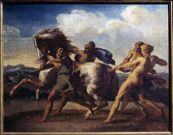 Horse stop by slaves. Painting by Theodore Gericault (1791-1824), 1817. Oil on canvas. Dim: 0,48 x 0,60m. Rouen, Museum of Fine Arts