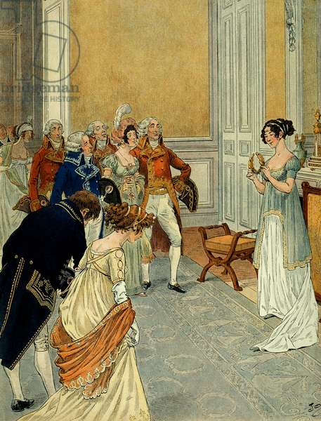 At the Tuileries, ministers, diplomats and councillors of state leaving the consuls who had announced Marengo's victory (the first Italian campaign (1796-1797) came to congratulate Josephine de Beauharnais (1763-1814); she holds a wreath of laurels separated from an Austrian flag. Illustration by Jacques Marie Gaston Onfray de Breville dit JOB (1858-1931). Private Collection