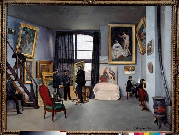 L'atelier de Bazille, 9 rue de la condemine in Paris (On the left, sitting on the table, Auguste Renoir speaks to Emile Zola. In the centre, Bazille shows Edouard Manet one of his recent works, while Claude Monet stands behind him and a close friend of Bazille, Edmond Maitre, plays the piano on the right). Painting by Jean Frederic Bazille (1841-1870), 1870. Oil on canvas. Dim: 0,98 x 1,28m. Paris, Musee D'Orsay - Bazille's studio on the 9 rue de la Condamine in Paris (At the left, seated on a table, Auguste Renoir talking to Emile Zola. In the center, Bazille showing Edouard Manet one of his recent work, while Claude Monet stands behind him and Bazille's close friend, Edmond Maitre, playing the piano at the right). Painting by Jean Frederic Bazille (1841-1870), 1870. Oil on canvas. 0.98 x 1.28 m. Orsay Museum, Paris