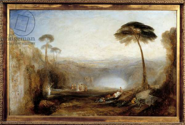 The golden branch after an episode of Virgil's Eneid or Enee and Sibyl give a golden branch to the keeper of the Underworld to enter the realm of the dead. Painting by Joseph Mallord William Turner (1775-1851), 19th century. London, Tate Gallery