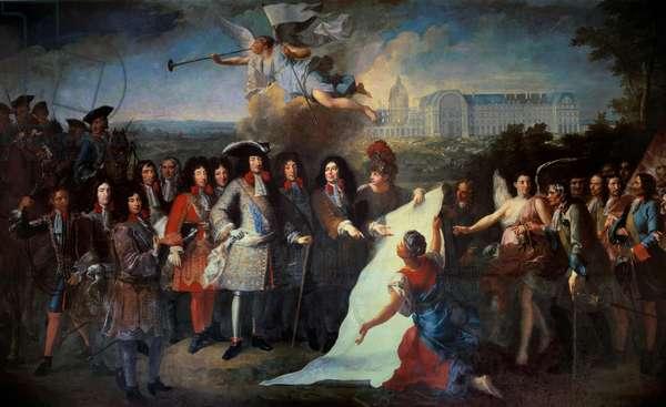 Presentation of the plan of the Royal Hote des Invalides to Louis XIV by the Marquis de Louvois (1639-1691) Among the present are Henri de la Tour d'Auvergne (1611-1675), Liberal Bruant (1631-1697); Louis II of Bourbon, Prince of Conde (Bourbon-Conde) (1621-1686), Jules Harouin Mansart (1646-1708). Painting by Pierre Dulin (1669-1748). 1710-1715 Paris, Musee de l'Armee