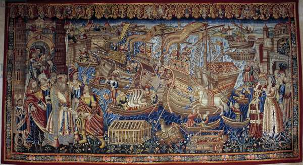 The Portuguese navigator Vasco de Gama (1459-1524) arrived in Calicut (Kozhikode) in India in 1498. Tapestry. Lisbon