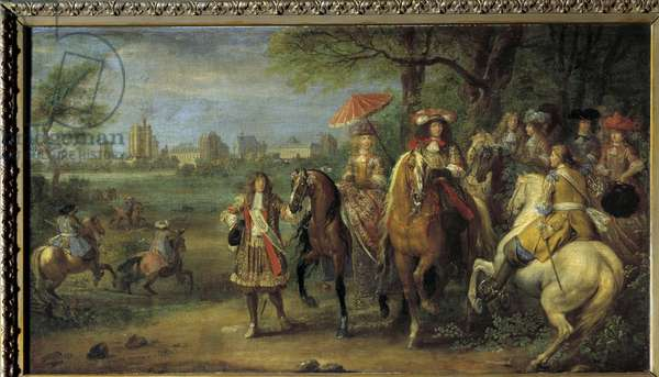 King Louis XIV (1638-1715) and Queen Marie-Therese of Austria (1638-1683) walking in front of the castle of Vincennes in 1669 Painting by Adam Frans Van der Meulen (1632-1690), 1669 Sun. 0,53x0,95 m.