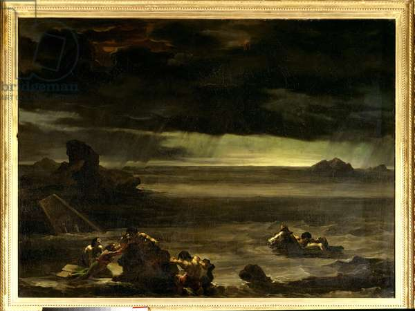The deluge. Painting by Theodore Gericault (1791-1824) 19th century. Oil on canvas. Dim. 0,97x1,3m. Paris, Louvre Museum