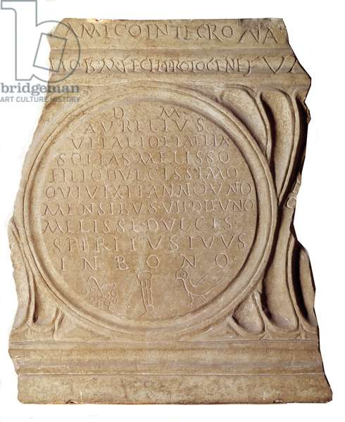 Paleochretian art: Christian epitaph of Melissus. From Rome, Paris, Louvre Museum