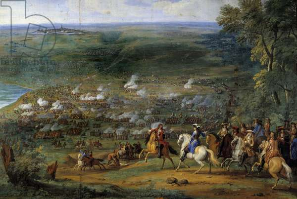 """Thirty Years' War: """""""" View of the Battle of Rocroy (Rocroi) on 19/05/1643 opposing the French troops of the Duke of Enghien and the Spanish troops of Francisco de Melo"""""""" Detail, Painting by Sauveur Le Conte (Leconte, Le Comte, Lecomte) (1659-1694), 17th century Chantilly. Conde Castle"""