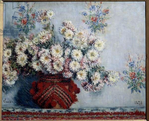 Chrysanthemes Painting by Claude Monet (1840-1926) 1878, oil on canvas, Dim. 0,54x0,65 m Paris, musee d'Orsay - Chrysanthemums Painting by Claude Monet (1840-1926), 1878, oil on canvas, 0,54 x 0,65 m. Orsay Museum, Paris