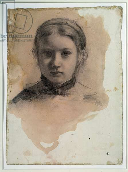 """Portrait of Giovanna Bellelli Study for """""""" the Bellelli family"""" Drawing by Edgar Degas (1834-1917) Around 1858-1859. Dim. 0,23 x 0,32 m. Black pencil, beige prepare paper. Paris, Musee d'Orsay"""