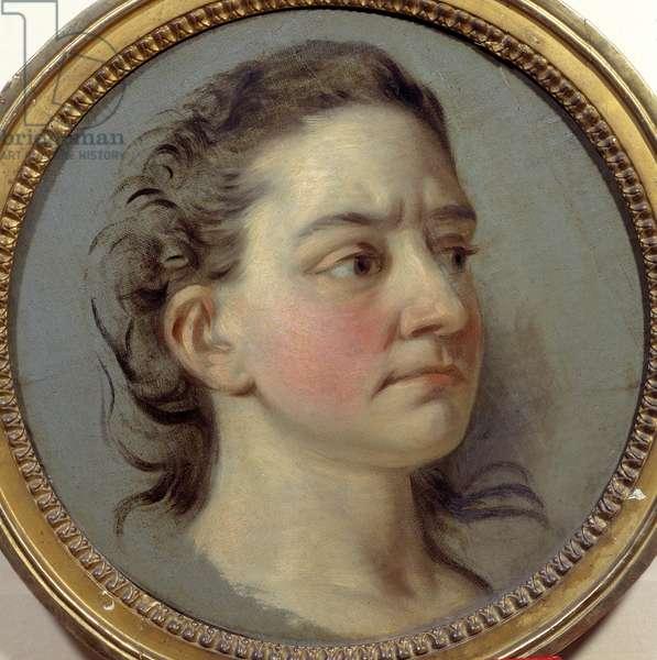 Portrait of Mademoiselle Clairon Josephe Leris de La Ttude dit Mademoiselle Clairon (1723 -1803) interpreter of Voltaire. Painting by Carle Van Loo (1705-1765), 18th century. Paris, Comedie Francaise