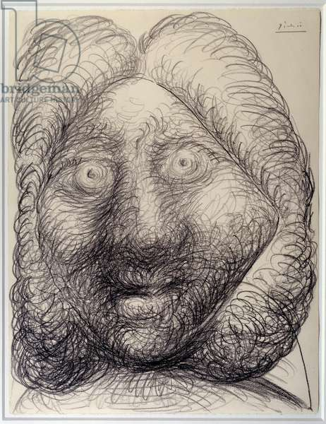Man's head. Drawing by Pablo Picasso (1881-1973), 1972. Black pencil. Dim: 0.65 x 0.50m. Paris, Musee Picasso.