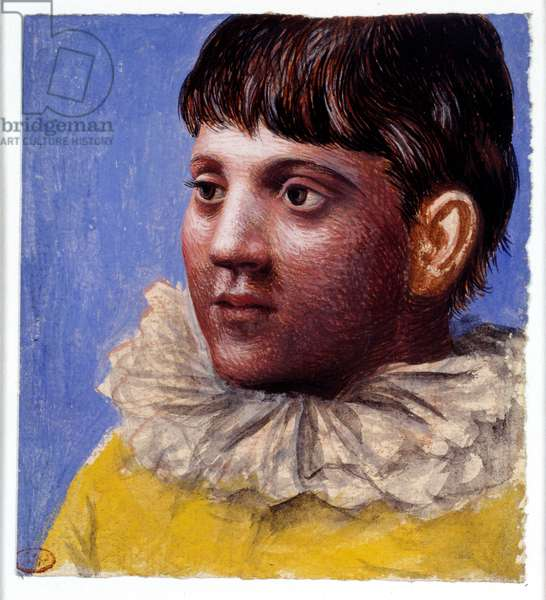 Portrait of teenager in Pierrot. Painting by Pablo Picasso (1881-1973), 1922. Gouache and watercolor. Dim: 0,11 x 0,10m. Paris, Musee Picasso.