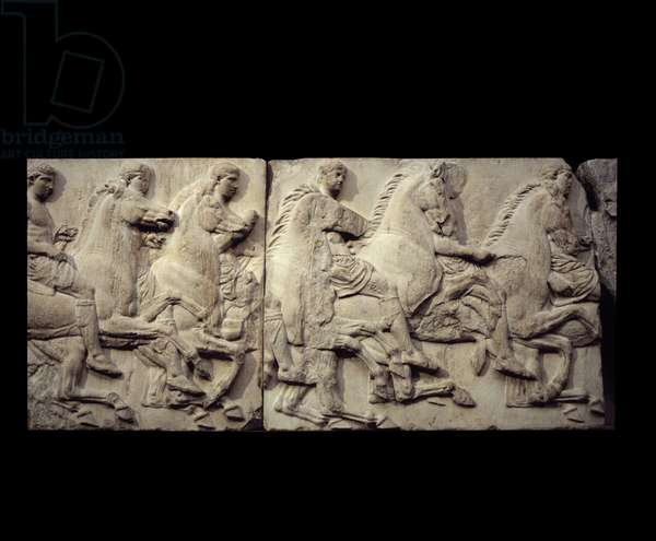 Greek art: low marble relief of a frieze from the Parthenon of Athenes representing riders. London, British museum.