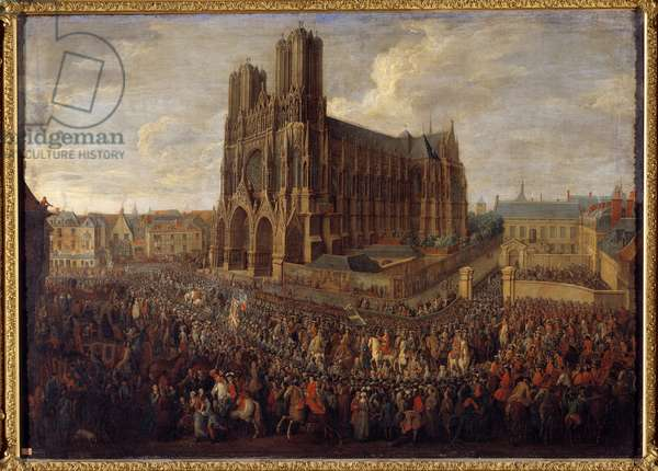 Cavalcade leading Louis XV to the Abbey Saint Remy of Reims October 26, 1722 Painting by Pierre Denis Martin (1663-1742) 1724 Sun. 0,88x1,25 m Versailles, musee du chateau