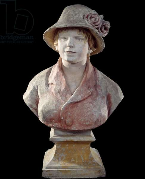 Madame Renoir, wife of the artist Bust of polychrome mortar by Pierre Auguste Renoir (1841-1919) 1916 Paris, Musee d'Orsay