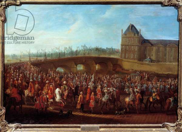 Exit of Turkish Ambassador Mehmet Effendi from the Sublime Porte after the audience granted by King Louis XV on 21/03/1721 Painting by Pierre Denis Martin (1663-1742), 1721. Sun. 0,8x1,15 m Paris, musee Carnavalet