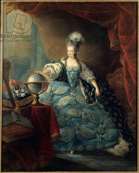 """Portrait en pied de Marie Antoinette de Lorraine Habsburg (1754-1793) dit """"portrait au globe"""" Marie-Antoinette, queen of France, is represented in 1775, in a large court suit, with her right hand resting on a world map. Painting by Jean-Baptiste-Andre Gautier of Agoty (1740-1786). 1775. Dim.1,60 x 1,28 m Versailles, chateaux of Versailles et de Trianon - Full-length portrait of Marie Antoinette de Lorraine Habsburg (1754-1793) said """""""" Portrait with the Globe"""""""""""" Marie Antoinette, Queen of France is represented in 1775, in full court dress, her right hand resting upon a globe. Painting by Jean-Baptiste-Andre Gautier d'Agoty (1740-1786). 1775. 1,60 x 1,28 m Castles of Versailles and Trianon, Versailles, France"""