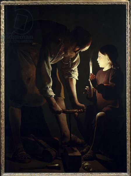 Saint Joseph carpenter Jesus child holds a candle to light his father Joseph at work. Painting by Georges de La Tour (1593-1652) 1640 Sun. 1,07 X 1,02 m Paris. Louvre Museum