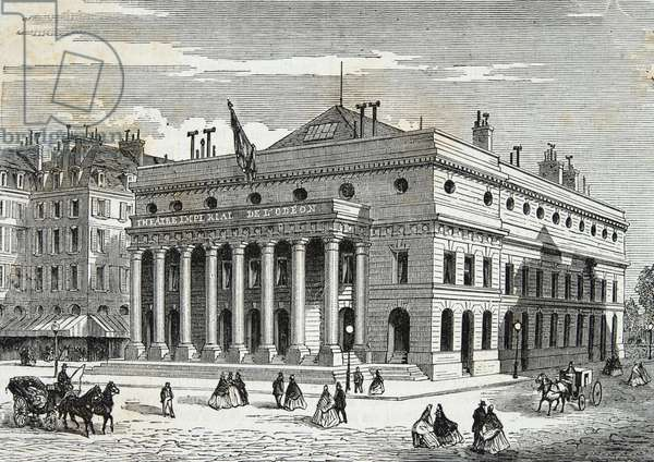 The theatre of the Odeon in Paris in the 19th century, Engraving, Private collection