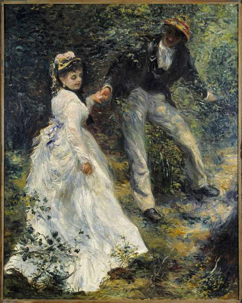 The walk A couple in the forest. Painting by Pierre Auguste Renoir (1841-1919) 1870 Sun. 0,81x0,65 m Los Angeles, getty museum