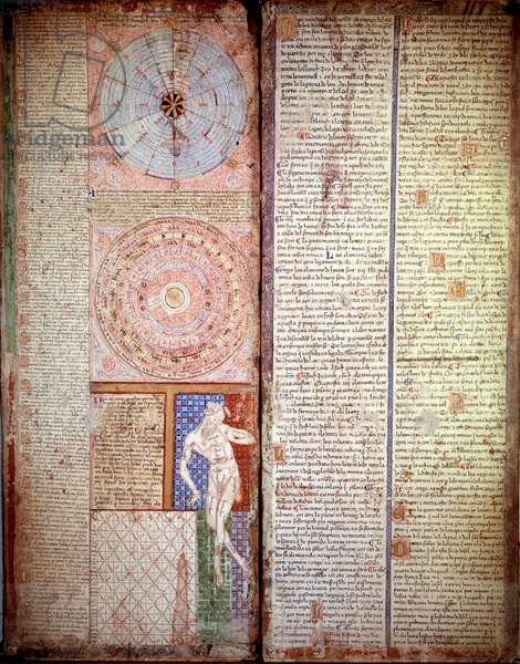 Astrological and astronomical diagram. Page taken from the Catalan Atlas (Catalan map) by Abraham Cresques (1325-1387), 1375. Paris, B.N.