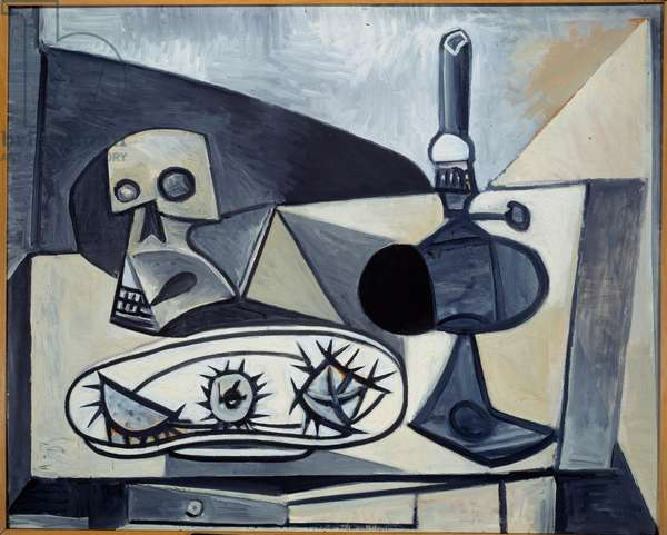 Crane, sea urchins and lamp on a table. Still life (Vanite). Oil on plywood. Dim: 0,81 x 1,00m. Painting by Pablo Picasso (1881-1973), 1946. Paris, Musee Picasso