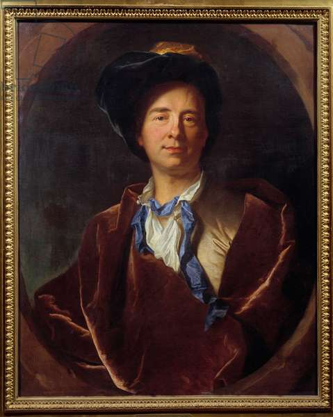 Portrait of Bernard Le Bouyer (Le Bovier) de Fontenelle (1657-1757), French writer Painting by Hyacinthe Rigaud (1659-1743) 1713 Sun. 0,79x0,63 m Montpellier, musee Fabre -Portrait of Bernard Le Bouyer (Le Bovier) de Fontenelle (1657-1757), French writer. Painting by Hyacinthe Rigaud (1659-1743), 1713. 0.79 x 0.63 m. Fabre Museum, Montpellier, France