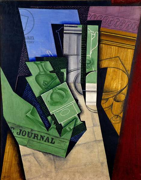 Le breakfast Peinture à l'oil et au charain by Juan Gris (1887-1927) 1915 Sun. 0,87x0,68 m Paris, musee national d'art moderne - Breakfast. Oil on canvas and charcoal painting by Juan Gris (1887-1927), 1915. 0.87 x 0.68 m. National Museum of Modern Art, Paris
