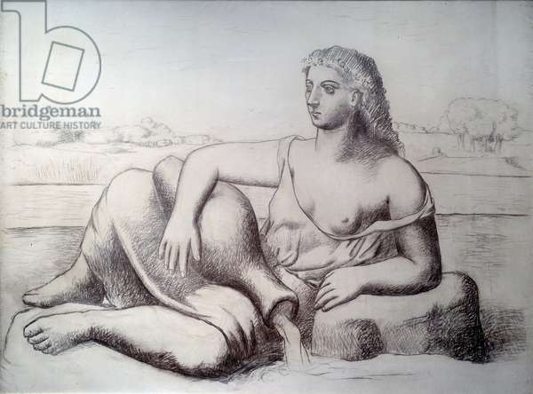 The source. Drawing by Pablo Picasso (1881-1973), 1921. Grease pencil on canvas. Dim: 1 x 2m. Paris, Musee Picasso