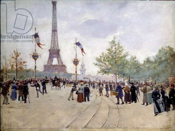 Entrance of the 1889 Universal Exhibition. Painting by Jean Beraud (1849-1935), 1889. Oil on wood. Dim: 0,30 x 0,40m. Paris, Musee Carnavalet