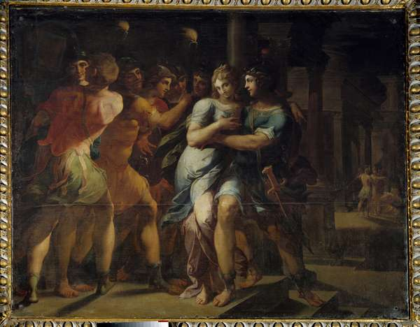 """The Abduction of Chariclee by Theagene"""""""" Illustration of """"The Ethiopics or History of Love of Theagene and Chariclee"""""""""""" by Heliodore (Heliodoros) by Emese (4th century AD). Painting by Ambroise Dubois (1542-1614), 1610 Sun. 1,3x2,35 m Fontainebleau musee du chateau"""