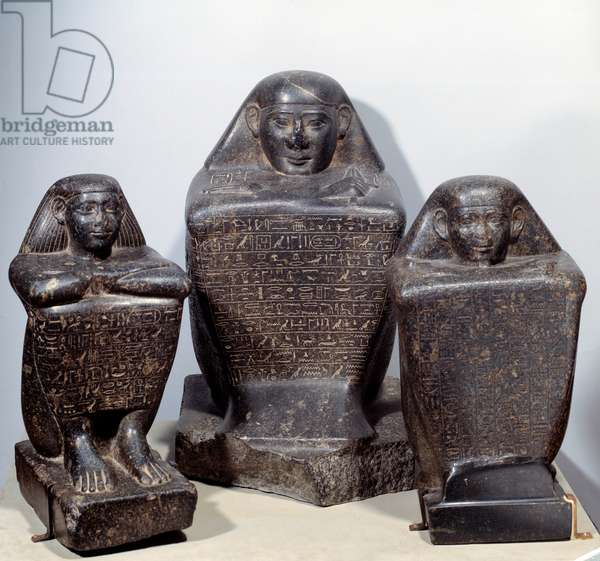 Cube statues (from left to right): Akhamenrou (Akhimenrou), Ienemipet and Haroua. Diorite sculpture. Ancient Egypt, 25th Dynasty (Low Period). Paris, Musee Du Louvre.