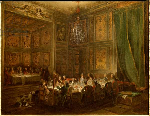 Dinner of Prince Louis Francois de Conti, Temple Palace Painting by Michel Barthelemy Ollivier (1712-1784) 1766 Sun. 0,56x0,71