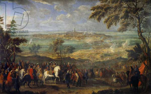 """War of the League of Augsburg (1689-1697): """""""" Capture of the city of Mons by Louis XIV (1638-1715) on 9/04/1691"""""""" Painting by Jean Baptiste Martin the Elder (1659-1735) Sun. 2,6x3,2 m"""