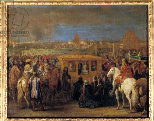 Solemn entry of King Louis XIV (1638-1715) and Queen Marie-Therese of Austria to Douai on 23/08/1667 (the queen in her carriage receives the tribute of the dingins of the city as their suzerain) Painting by Adam Frans Van der Meulen (1632-1690). About 1667 Sun. 0.63x0.81 m.