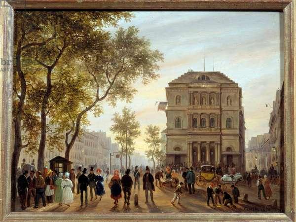 View of the Theatre de l'Ambigu comique et du boulevard Saint-Martin Painting by Giuseppe Canella (1788-1847) 1830 Sun. 0,14x0,18 m Paris, Musee Carnavalet