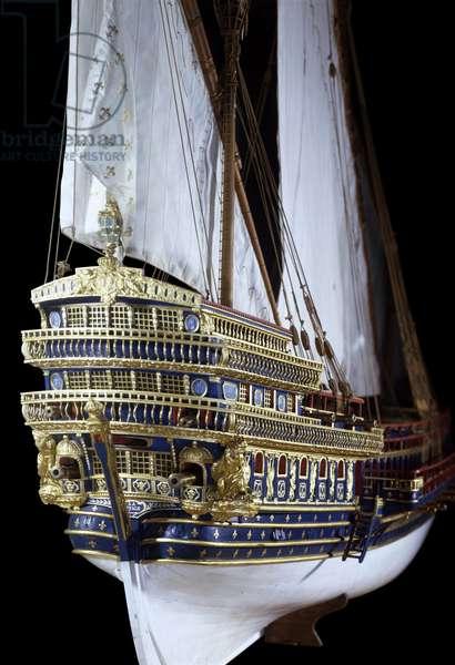 "Louis XIV military navy: model of the """" Royale"". 17th century. Paris, Musee de la Marine"
