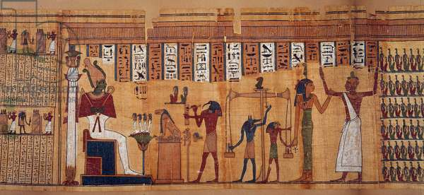 Egyptian antiquitis: the weighing of souls, papyrus of the Book of Dead of Chahapiimou, Superior of Amon's astronomers. Ptolemaic period (332-30 BC) Around 500-100 BC Paris, Louvre Museum