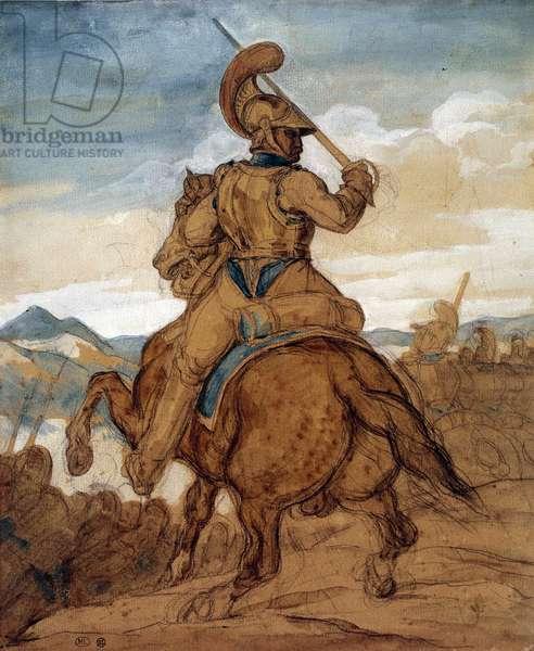 Carabinier or cuirassier on horseback Watercolour, gouache, wash by Theodore Gericault (1791-1824) 19th century Sun. 0,25x0,22 m Paris, musee du Louvre