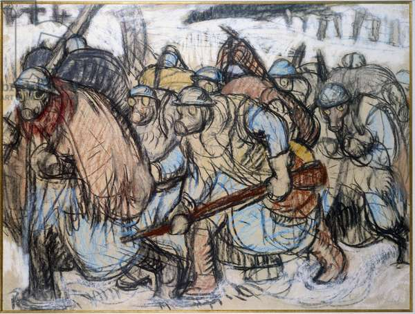 "First World War: """" Soldiers wearing a gas mask """". Zingg, Jules Emile (1882-1942), 1917. Paris, Museum of Two World Wars"
