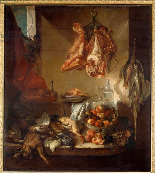 A kitchen interior still life of game, fruit and meat. Painting by Francois Desportes (1661-1743) 18th century Chalons sur Marne, Musee des Beaux Arts