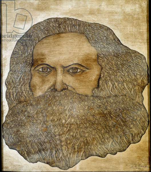 Portrait of Karl Marx (1818-1883), philosopher and political theorist The beard and hair are peoples of half human creatures advancing the raised arm. Private collection Attention! Use of this work may be subject to a third party authorization request or additional fees