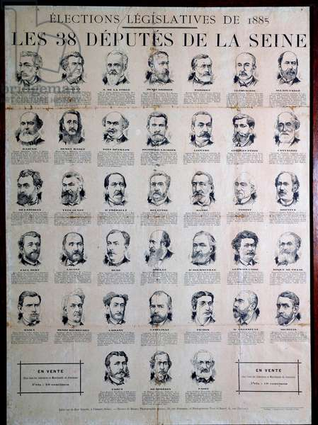 Third Republic: poster representing the 38 deputes of the Seine in the legislative elections of 1885. Among them, Georges Clemenceau. Private Collection
