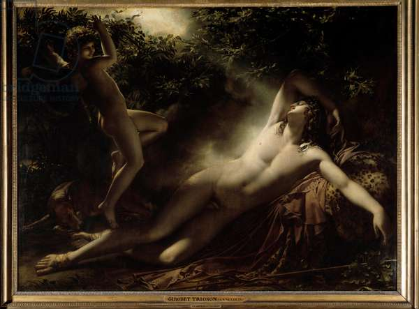 Endymion's sleep or Endymion, Moon effect. Painting by Anne Louis Girodet by Roussy Trioson (Roucy Trioson, 1767-1824), 1791. Oil on canvas. Dim: 1,98 x 2,61m. Paris, Musee Du Louvre - The Sleep of Endymion or Endymion, moon effect. Painting by Anne Louis Girodet de Roussy Trioson (Roucy Trioson, 1767-1824), 1791. Oil on canvas. 1.98 x 2.61 m. Louvre Museum, Paris