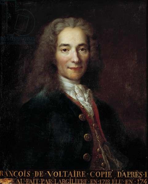 Portrait of Francois Marie Arouet dit Voltaire (1694 - 1778), French writer and philosopher. Copy by Nicolas De Largilliere (1656 - 1746)