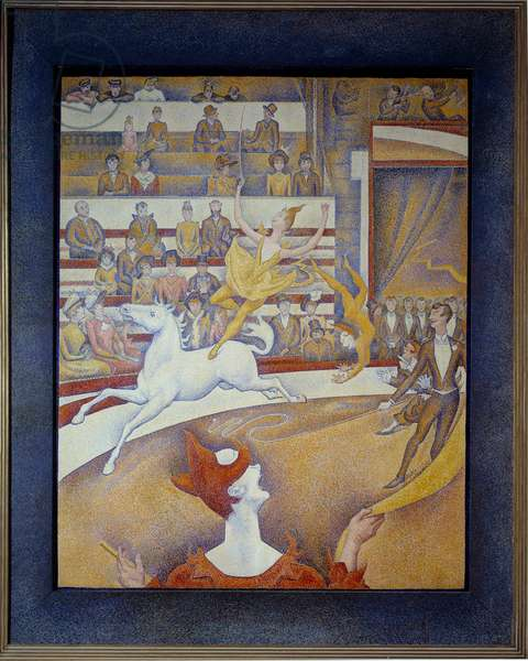 The circus Une ecuyere a horse, a clown and acrobats. Painting by Georges Seurat (1859-1891) 1891 Sun. 1,85x1,52 m Paris, musee d'Orsay